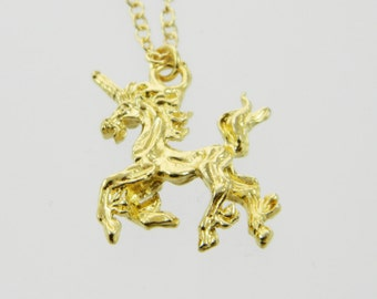 Vintage Gold Unicorn Necklace