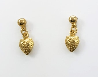Tiny Brass Strawberry Earrings