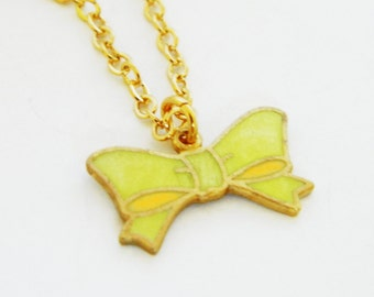 Yellow Enameled Bow Necklace