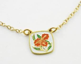 Orange Tiki Hibiscus Necklace