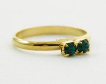 Children's Adjustable Birthstone Ring - Emerald Two Stone Ring