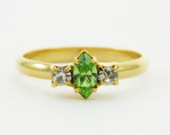 Peridot Marquise and White Crystal Pinky Ring - Adjustable Ring