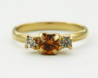 Topaz and White Crystal Pinky Ring - Adjustable Ring