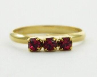 Children's Adjustable Birthstone Ring - Ruby Three Stone Ring
