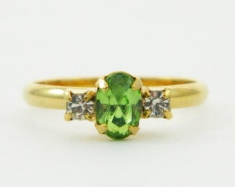 Oval Cut Peridot and White Crystal Pinky Ring - Adjustable Ring