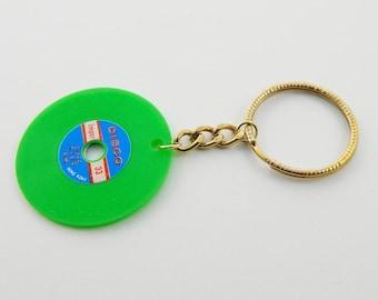 Vintage Vinyl Keychain in Neon Green