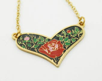 Vintage Rose Heart Necklace