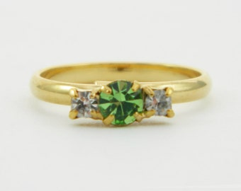 Peridot and White Crystal Pinky Ring - Adjustable Ring