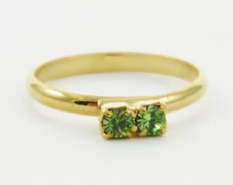 Children's Adjustable Birthstone Ring - Peridot Two Stone Ring