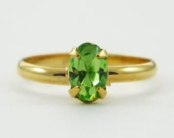 Children's Adjustable Birthstone Ring - Peridot Oval Ring
