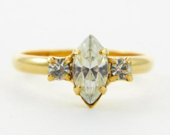 Marquise White Crystal Pinky Ring - Adjustable Ring