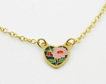 Tiny Pink Sunflower Heart Charm Necklace
