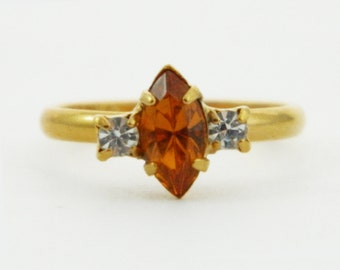 Topaz Marquise and White Crystal Pinky Ring - Adjustable Ring