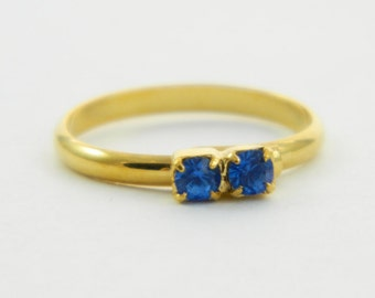 Children's Adjustable Birthstone Ring - Sapphire Two Stone Ring