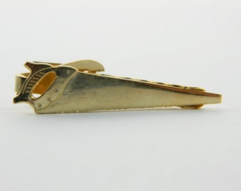 Gold Hand Saw Tie Clip