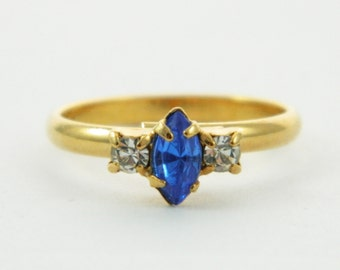 Marquise Sapphire and White Crystal Pinky Ring - Adjustable Ring
