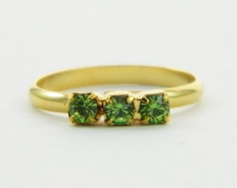 Children's Adjustable Birthstone Ring - Peridot Three Stone Ring