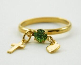 Children's Peridot Charm Ring - Adjustable Ring