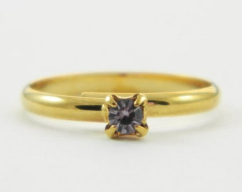 Children's Adjustable Birthstone Ring - Light Amethyst Ring