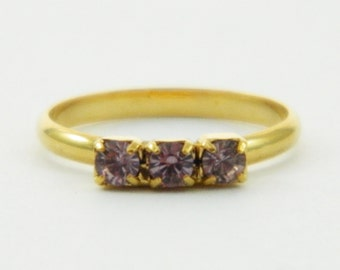 Children's Adjustable Birthstone Ring - Light Amethyst Three Stone Ring