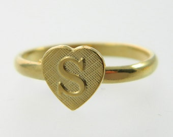 Vintage Heart Monogram Ring - Adjustable Ring