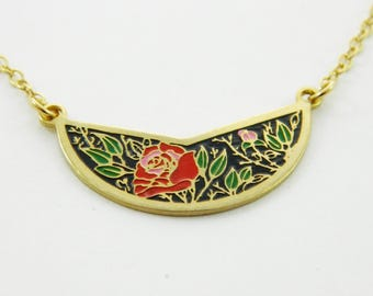 Enamel Rose Crescent Necklace