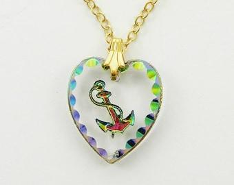Glass Anchor Heart Pendant Necklace - NC2054