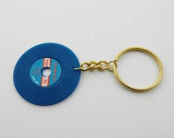 Vintage Vinyl Keychain in Blue