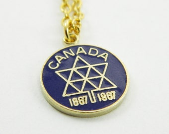 Canadian Centennial Necklace in Navy