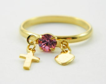 Children's Pink Sapphire Charm Ring - Adjustable Ring