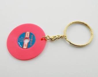 Vintage Vinyl Keychain in Magenta