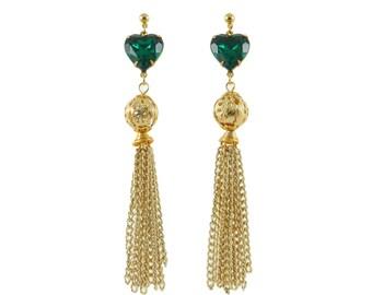 Emerald Heart Tassel Earrings