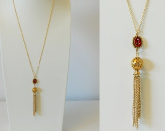 Red and Gold Anchor Tassel Necklace
