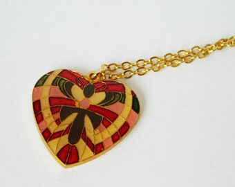 Butterfly Pendant Layering Necklace - Cream, Red and Pink