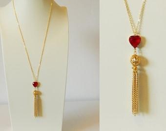 Ruby Heart Tassel Necklace