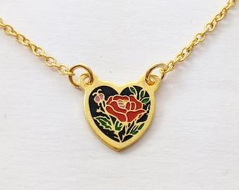 Tiny Rose Heart Charm Necklace