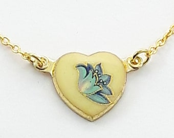 Vintage Blue Floral Print Heart Necklace