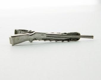 Silver Rifle Tie Clip