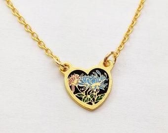 Tiny Dahlia Heart Charm Necklace