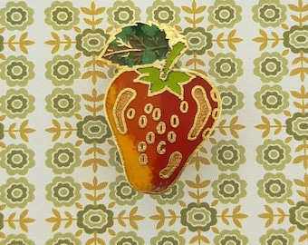 Vintage Enamel Strawberry Pin