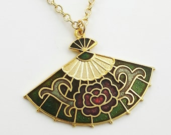 Cloisonne Fan Necklace in Olive