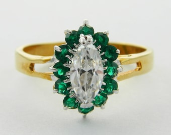 Vintage Faux Emerald Crystal Halo Marquise Ring