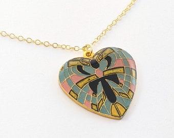 Art Nouveau Heart Pendant Necklace - Teal
