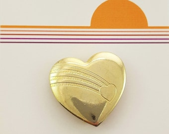 Vintage Gold Rainbow Heart Pin