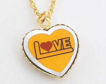 Vintage 70s Love Pendant Necklace