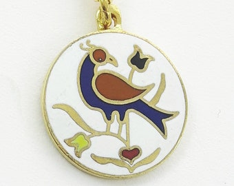 Good Luck & Happiness Charm Necklace in Gold - Distlefink Bird Necklace