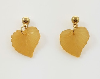 Golden Yellow Leaf Earrings
