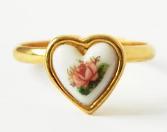 Gold Rose Heart Ring - Adjustable Ring