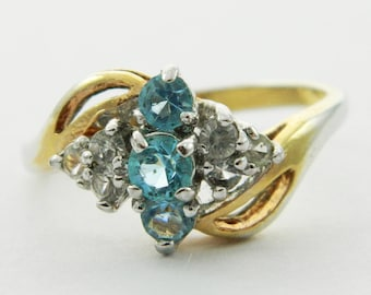 Vintage Faux Sky Blue Topaz Bypass Ring