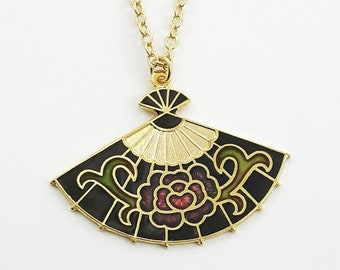 Cloisonne Fan Necklace in Black